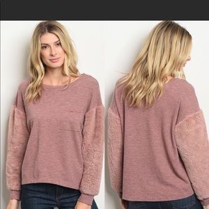 Tops - New! Mauve Fuzzy Soft Plush Long Sleeve Knit Top